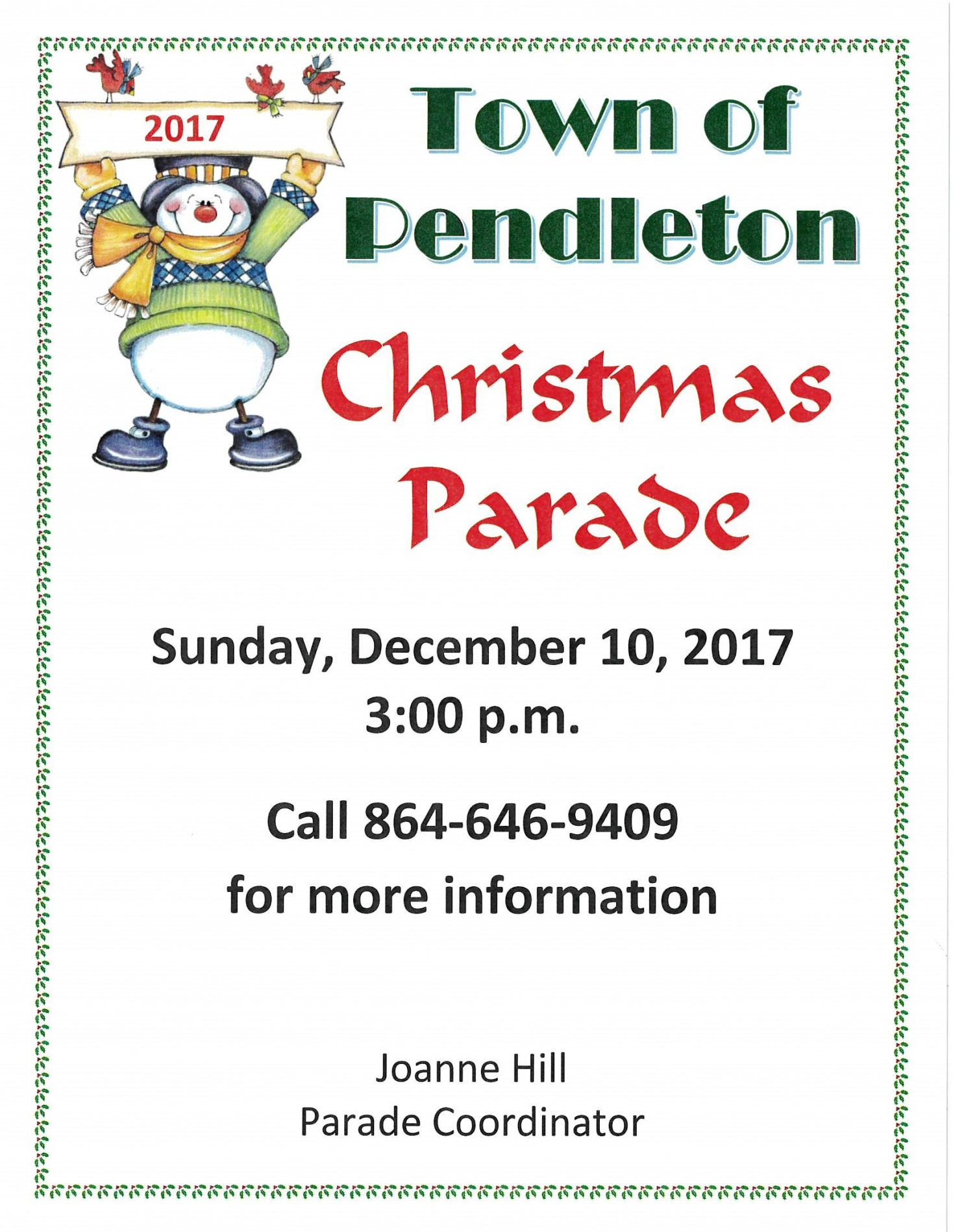 2017 Pendleton Christmas Parade Flyer & Entry Form