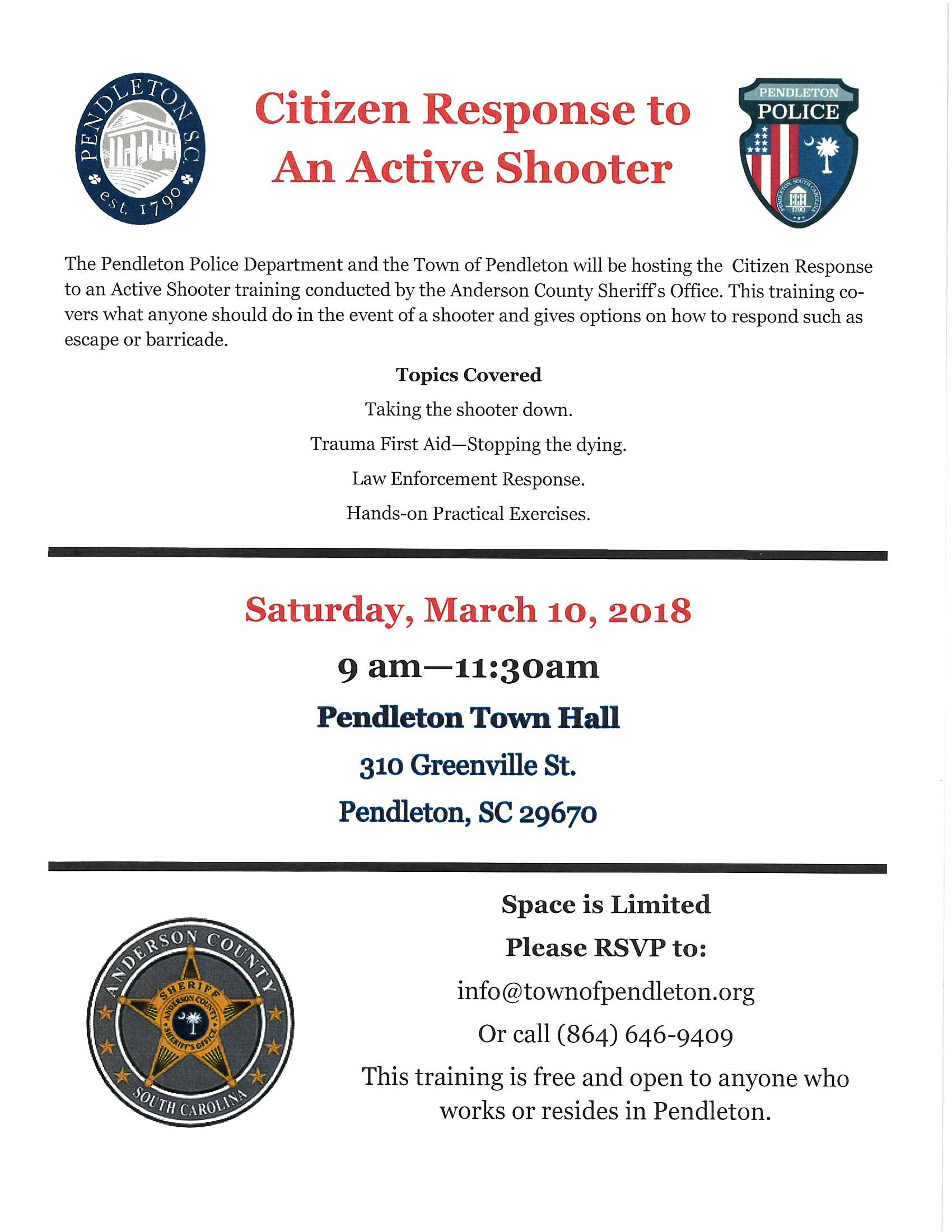 Citizen Response To An Active Shooter Training Town Of