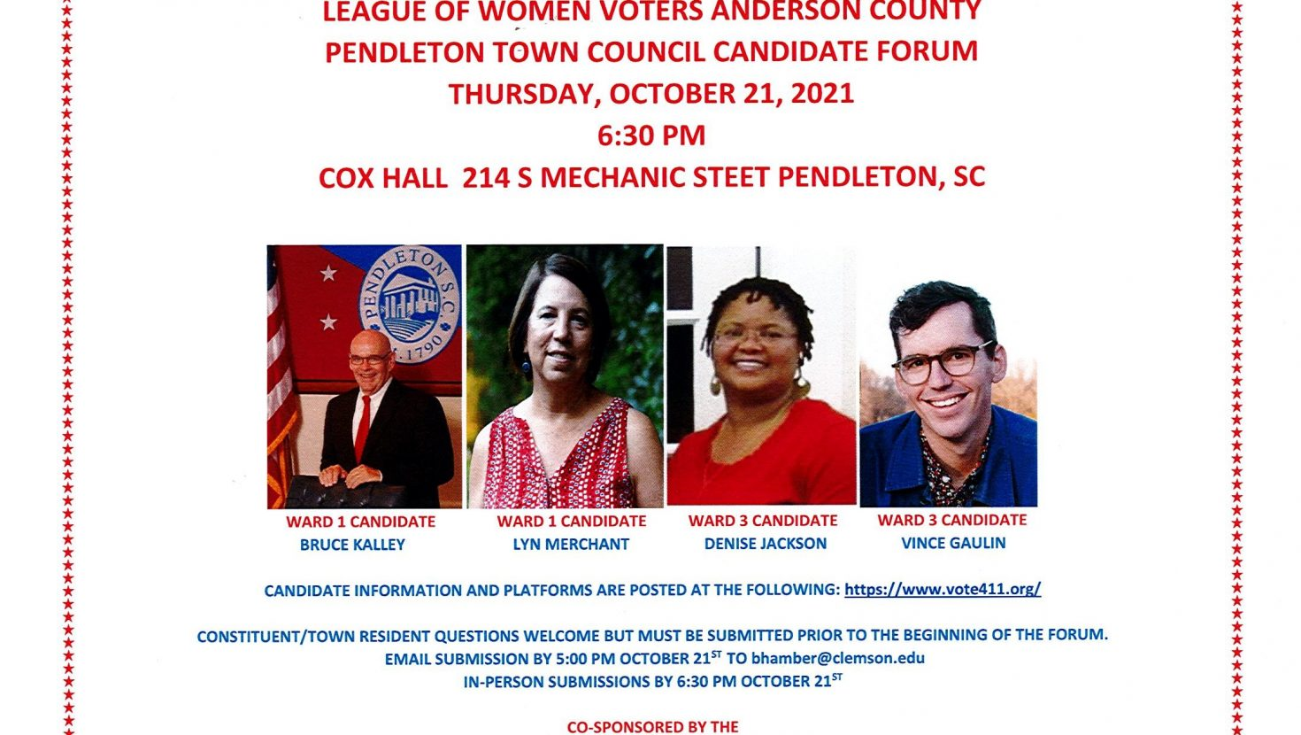 The League of Women Voters Anderson County is hosting a Candidate Forum