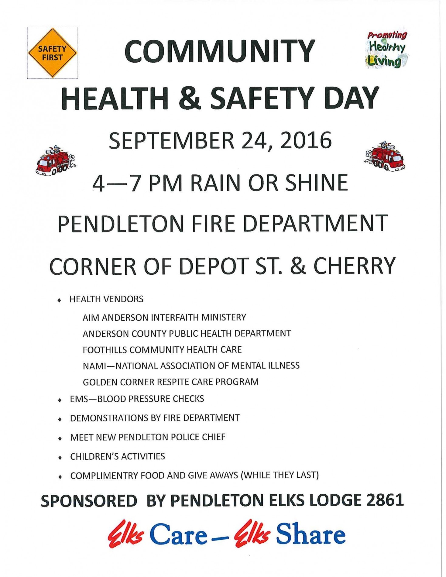 Elks Lodge to host Community Safety Day…